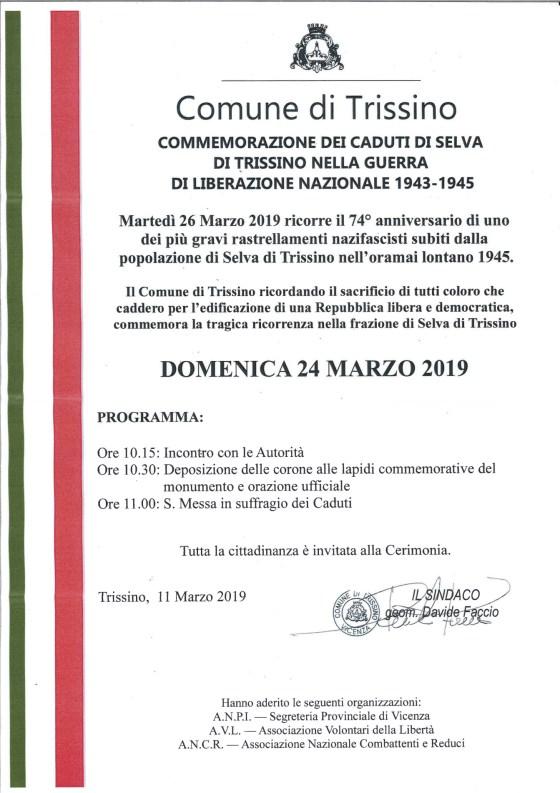 Locandina Selva di Trissino 24 marzo 2019