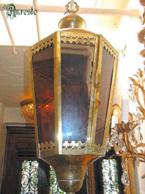 18de eeuwse Franse lantaarn, gedreven messing