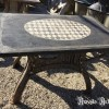 Ref. 23 Industriele tuintafel, oude ijzeren industriele tuintafel foto 2