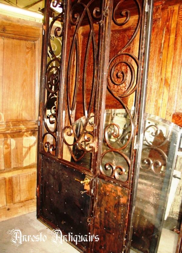 Ref. 41 – Antieke smeedijzeren buitendeur, antieke ijzeren inkomdeur