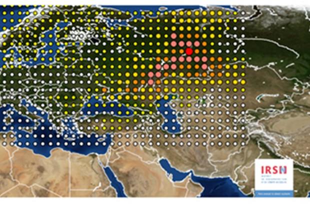 La mappa delle rilevazioni del rutenio sull'Europa elaborata dall'Istituto di Radioprotezione e Sicurezza Nucleare francese (Irsn) (fonte: IRSN) © Ansa