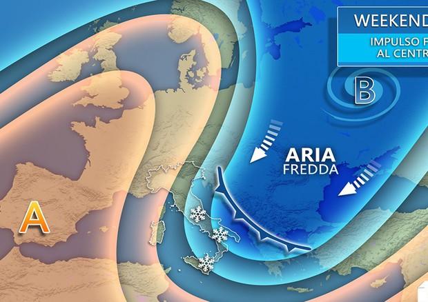 Arriva il freddo, temperature in picchiata al Centro Sud (fonte: 3bmeteo) © Ansa