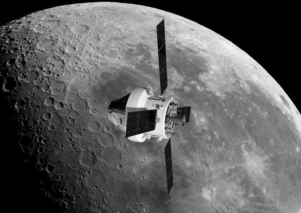 Representation of NASA's Orion shuttle in the lunar orbit (source: NASA / ESA / ATG Medialab) © Ansa