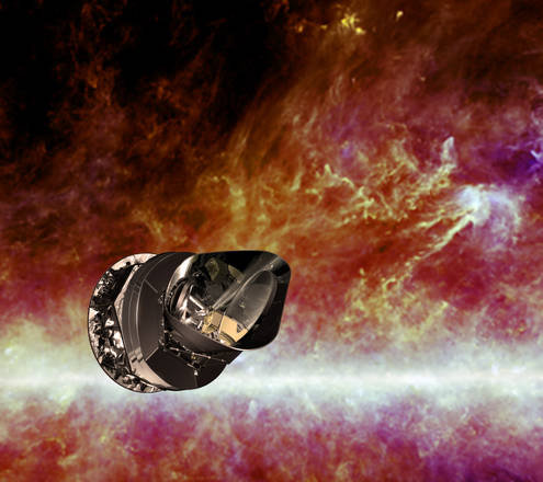 Rappresentazione artistica del satellite europeo Planck (fonte: ESA - C. Carreau)