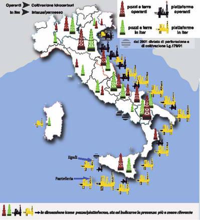Un'infografica diffusa dal WWF Italia illustra la situazione delle trivellazioni nel nostro paese.