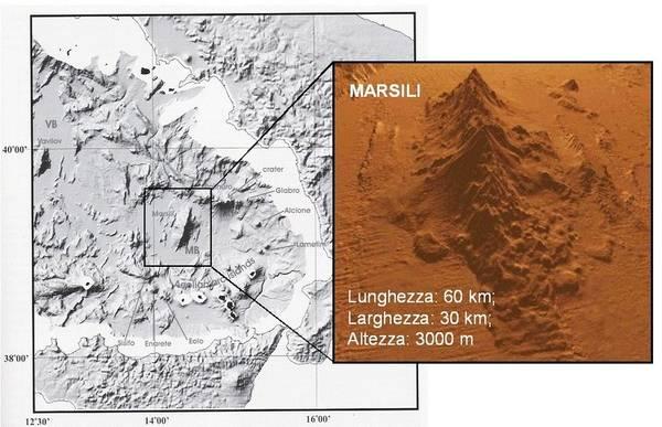 Il vulcano sottomarino Marsili (fonte: Eurobuilding)