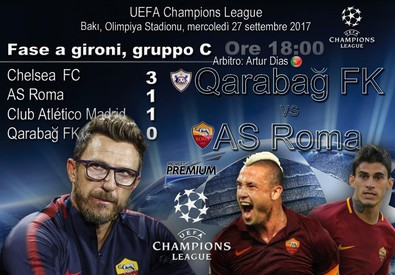 Champions League, gruppo C: Qarabag FK-AS Roma (ANSA)