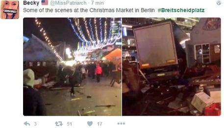 Alcune immagini del camion di Natale che si è schiantato sul mercatino di Natale a Berlino © Ansa