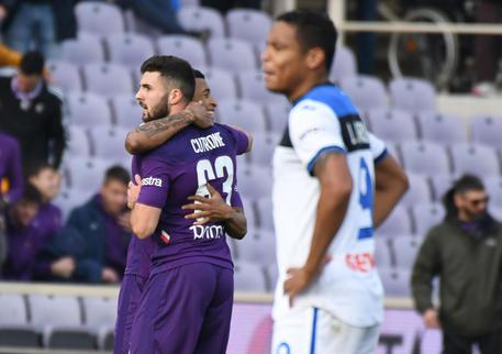 Fiorentina-Atalanta, Patrick Cutrone sullo sfondo festeggiato dopo il suo gol © ANSA