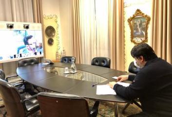 Presidente della Regione Sardegna Christian Solinas, seduta di Giunta in videoconferenza ©