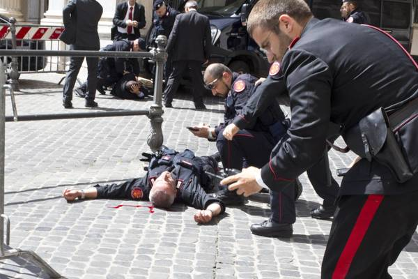 One of the carabinieri injured in the shooting at Palazzo Chigi