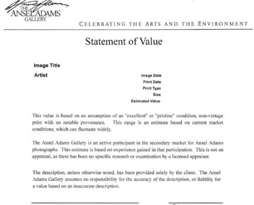 Ansel Adams Gallery Value Statement