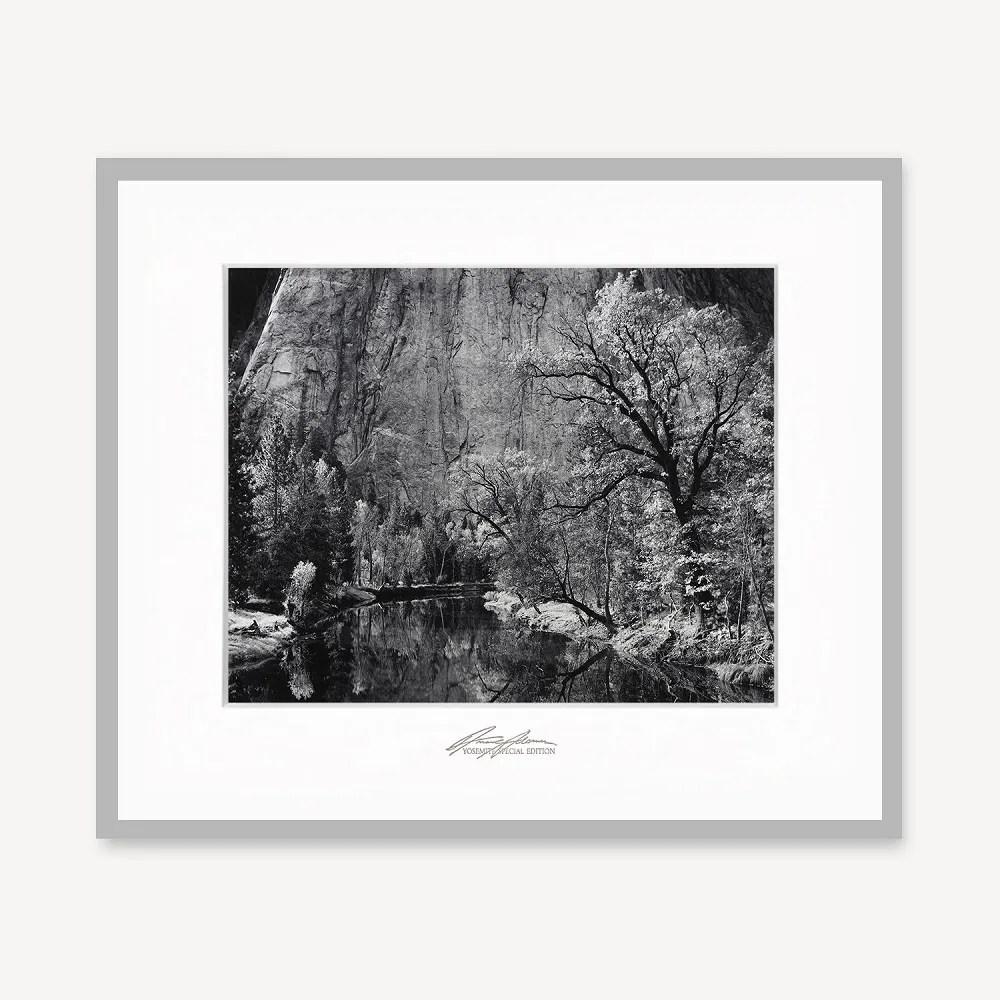 framed merced river cliffs autumn