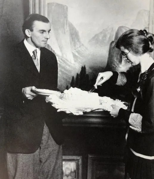 Virginia and Ansel's wedding day, January 2, 1928, in front of Harry Cassie Best painting