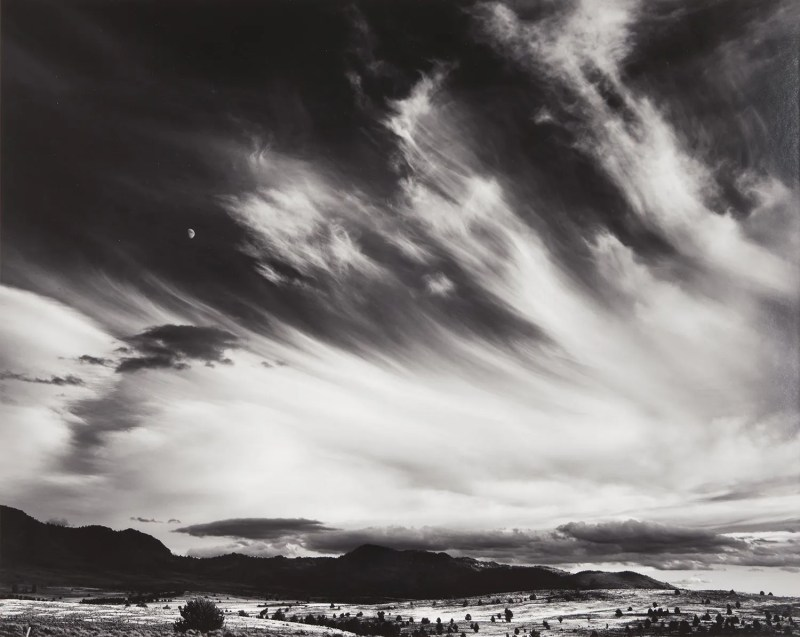 "Ansel Adams, ""Moon and Clouds, Northern California,"" Original Gelatin Silver Photograph"