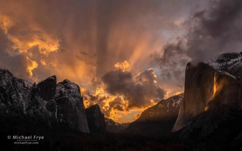 Sunset over Yosemite Valley with Horsetail Fall by Michael Frye
