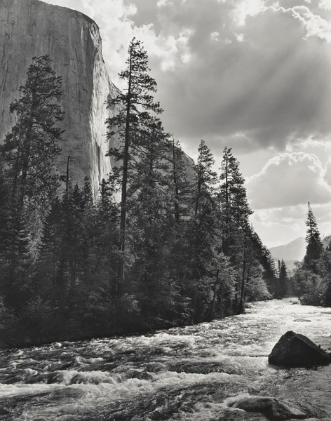El Capitan, Clouds, Merced River by Ansel Adams
