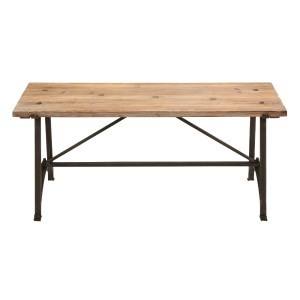 Rustic Wood Bench with Metal Frame