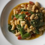 chard white bean ragout close up