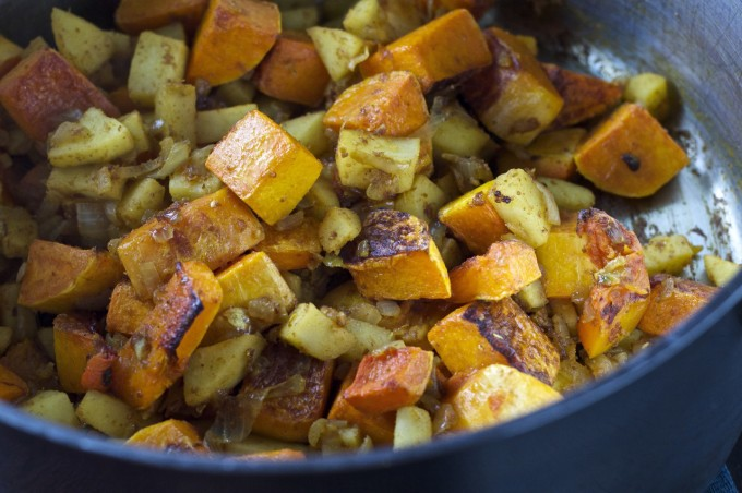 butternut squash apple soup roasted squash in pot 2