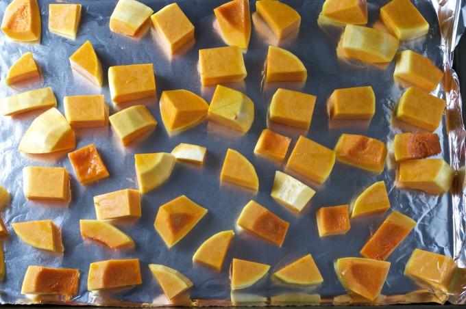 butternut squash apple soup squash cubes