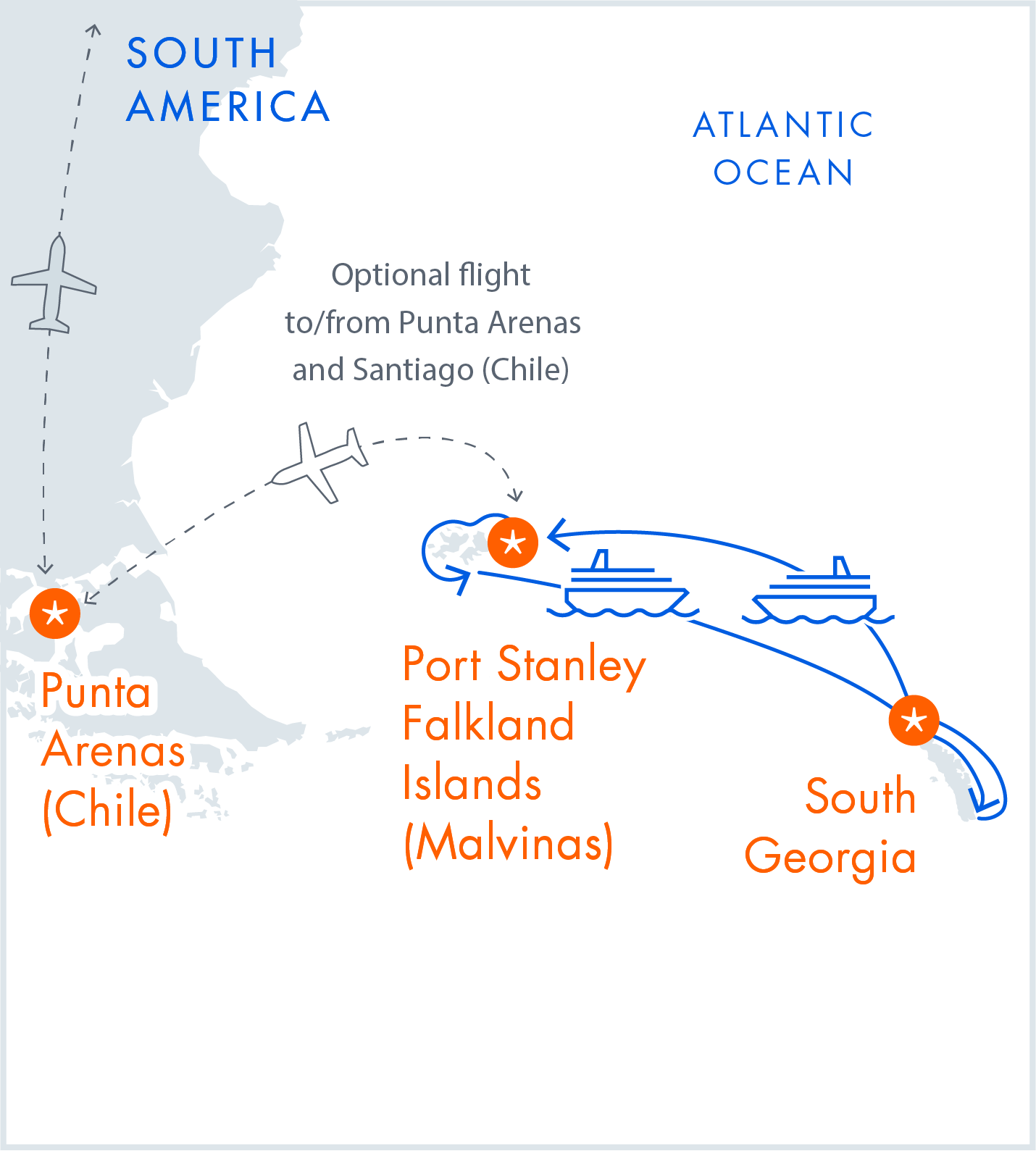 Map of the Falklands & South Georgia - Sub-Antarctic Voyage Itinerary by Antarctica21