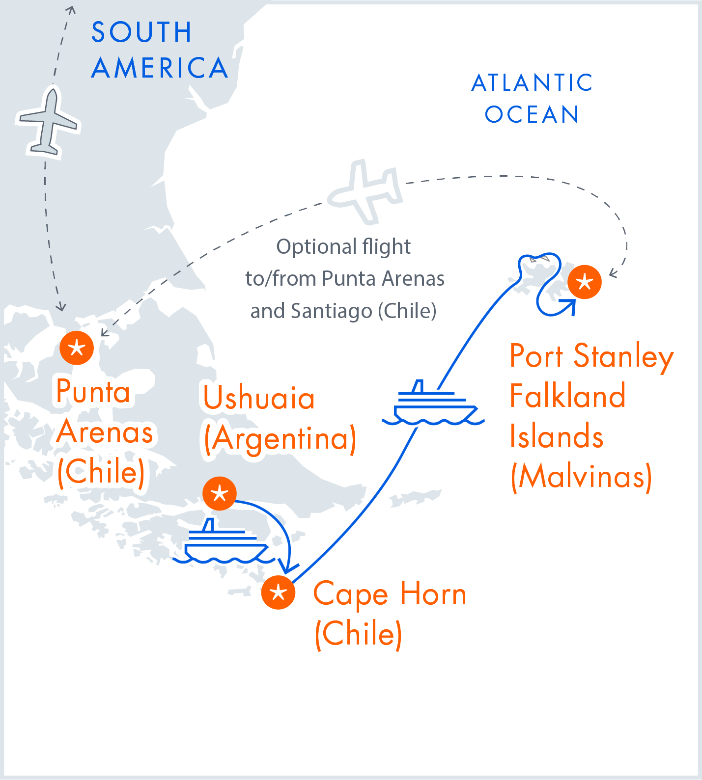 Map of Ushuaia, Cape Horn & the Falklands (Malvina) - Sub-Antarctic Voyage Itinerary by Antarctica21