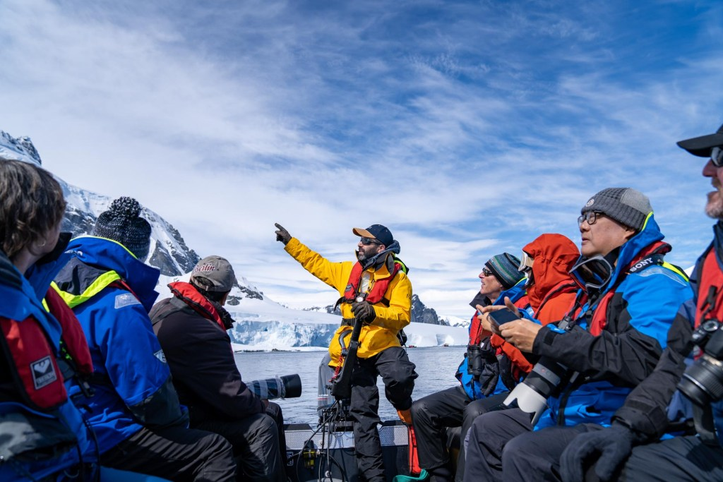 Zodiac cruise with Mariano Curiel, Director on Expedition Operations at Antarctica21. Photography by Ana Carla Martínez.