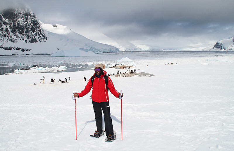 Maryse in Antarctica, solo traveller