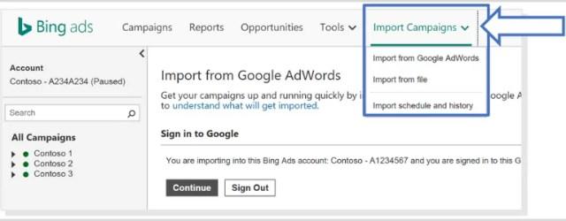import Google campaign