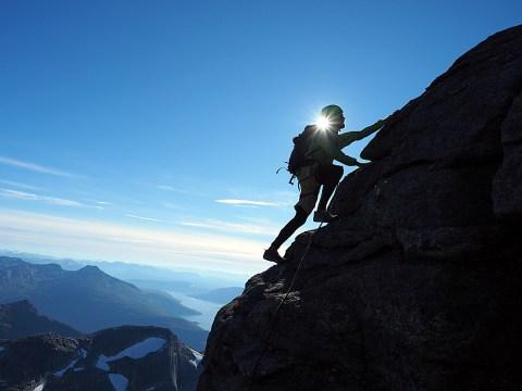 holding on to mountain