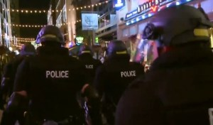 Screenshot of TV footage of police on E. 4th in Cleveland, following the Brelo verdict.