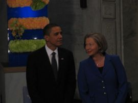 President Obama and a member of the Nobel selection committee.