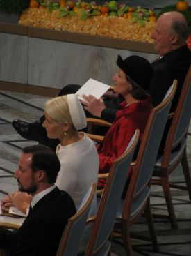 The Norwegian royal family at the Peace Prize ceremony