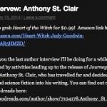 Judy Goodwin interviews author Anthony St. Clair