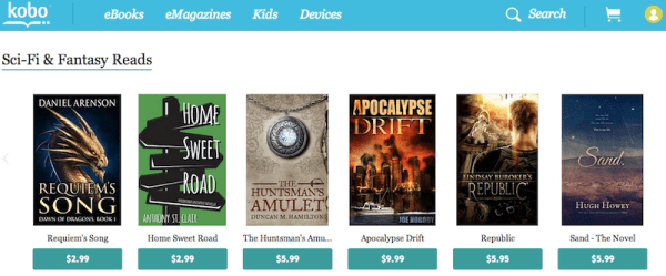 Home Sweet Road listed on Kobo Next alongside titles from Hugh Howey and Lindsay Buroker.