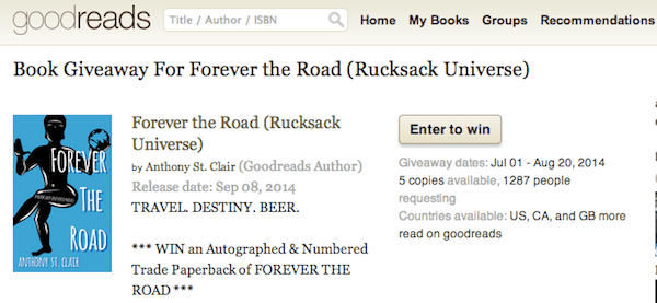 Goodreads Giveaway: Win a signed copy of Forever the Road