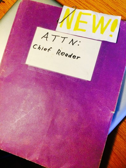 Chief Reader's purple folder