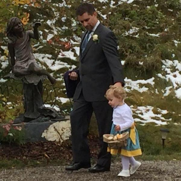 My 22mo daughter Aster was a flower girl at my sister-in-law's recent wedding. I've now walked my daughter down the aisle for the first time.