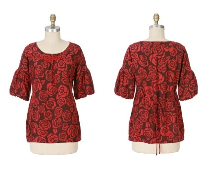 Anthropologie Lush Landscape Tie-Back blouse by Aquarius from 2007