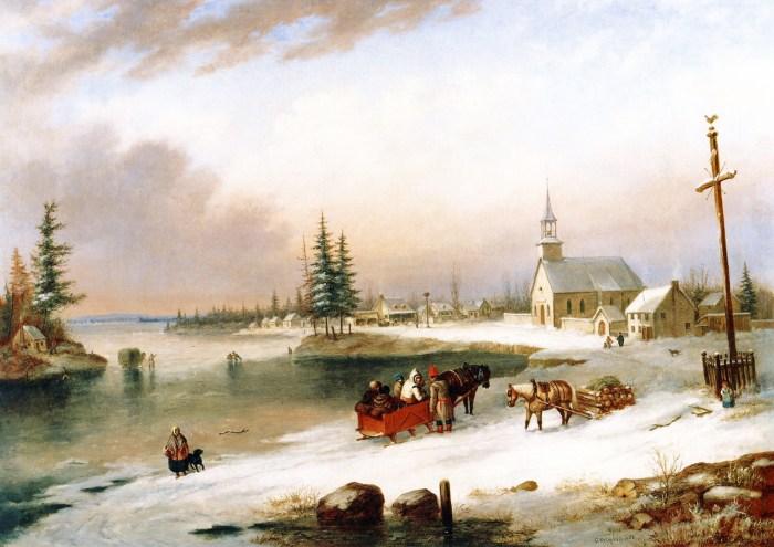 Cornelius Krieghoff - Village Scene in Winter 1850
