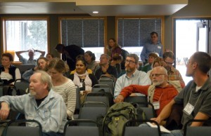 """Participants attend a working group session on anthropological sciences, ecology and environment during the 2012 LTER All Scientists Meeting in Estes Park, Colorado. Photo courtesy LTER Network Office"""