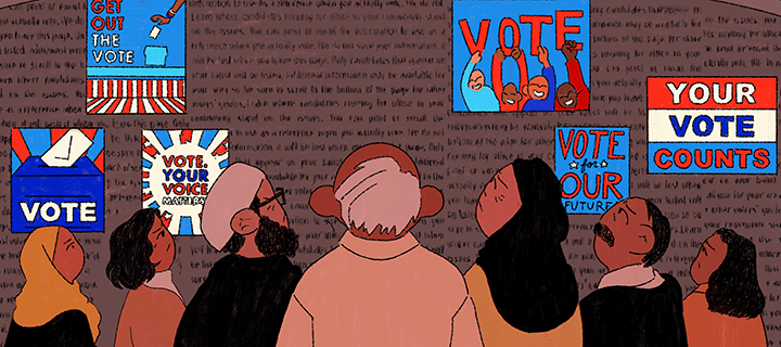 Illustration of people looking at a wall of vote signs.