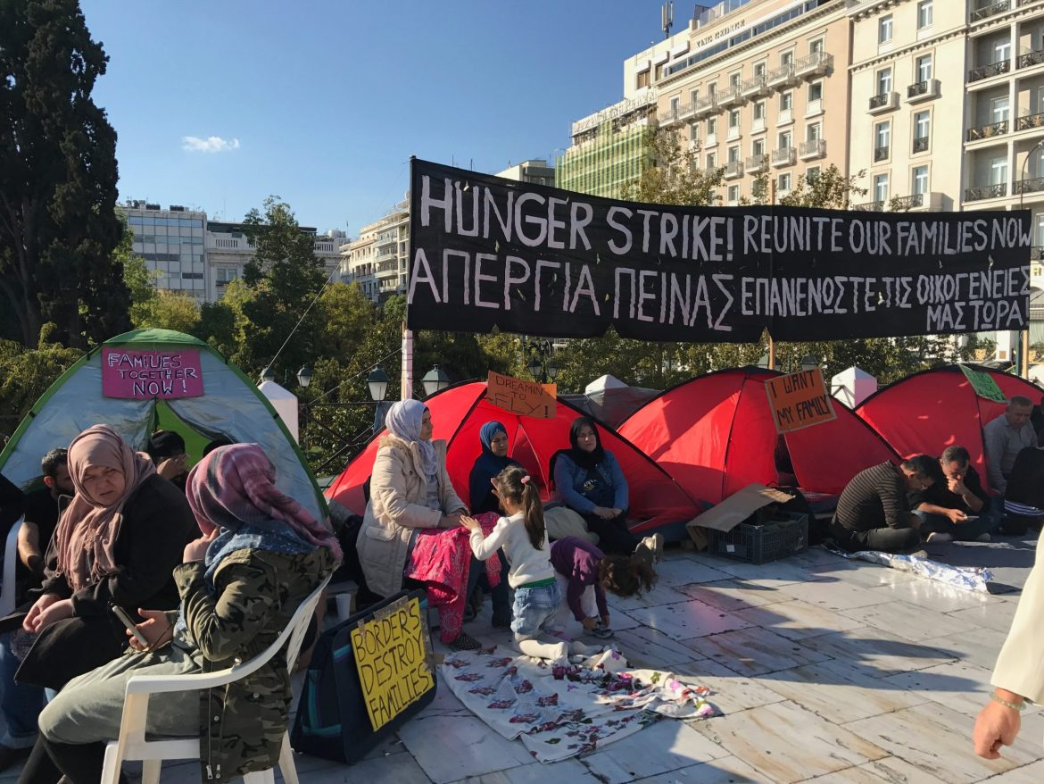 A photograph of the hunger strike of Syrian refugees in Athens, Greece during 2017.