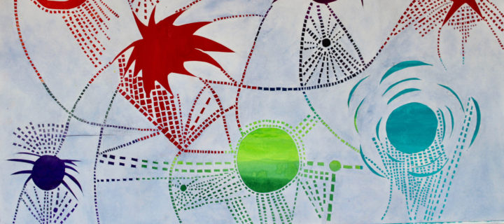 A large colorful painting and cutouts in red, green, blue, navy, and black. Colorful orbs and jagged, spiky shapes are connected by rows and grids of small blocks, some straight, some curving across the work.
