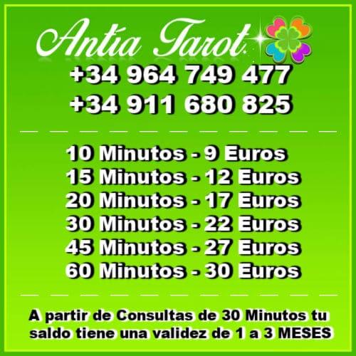Antía Tarot precios de las consultas.
