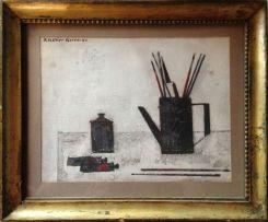"""Dipinto ad olio su tela incollata al cartone, firmato in alto a sinistra, al retro firmato, titolato """" Natura morta """" e datato 1967"""