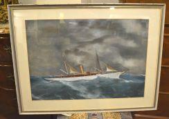 Tempera raffigurante lo yacht Monsoon nella tempesta.