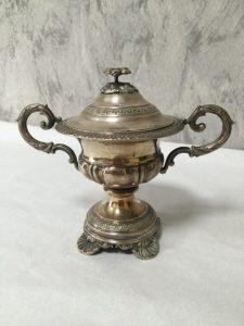 Zuccheriera italiana a coppa in argento della fine del XIX° sec
