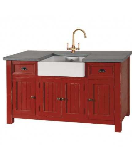 meuble evier 4p 2t poignee coquille sans evier sans robinet